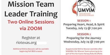 Mission Team Leader Training tickets