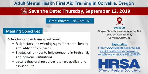 Adult Mental Health First Aid Training in Corvallis, Oregon