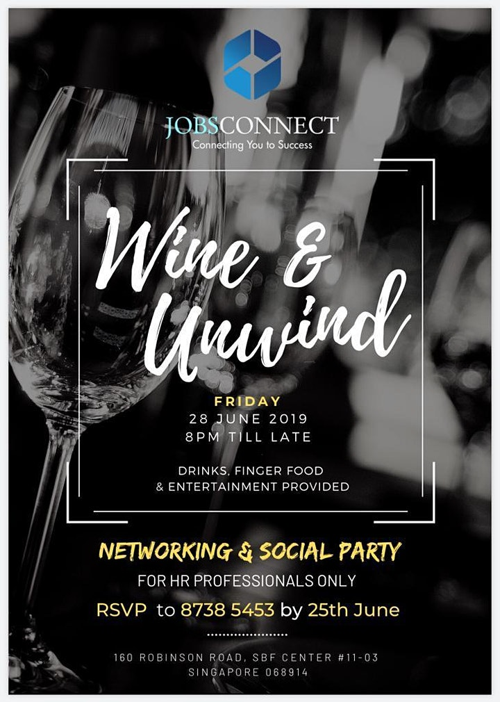 """ Wine & Unwind "" - Networking & Social Party for HR Professional image"