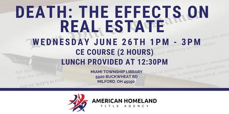 Death: The Effects on Real Estate | Continuing Education tickets