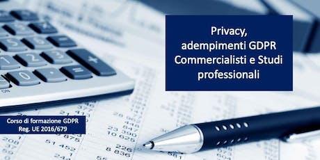 Privacy, adempimenti GDPR per Commercialisti e Studi professionali biglietti