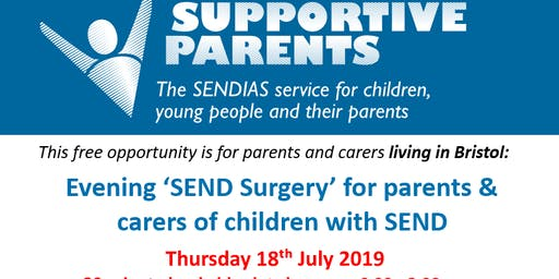 Bristol Evening Surgery, 18th July.  Time slots between 6.00 - 8.00pm,