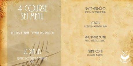 4 Course Set Menu & Caraf of Wine tickets
