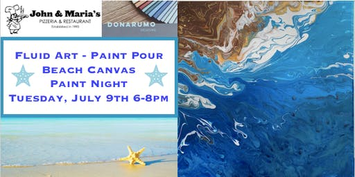 Fluid Art Beach Canvas Paint Night