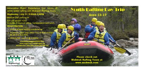 Youth Rafting Day-Trip tickets