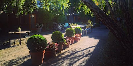 A Happy Hour for the Collaborative Creative.  Hosted by Studio M in the garden with wine, music and a workshop tickets