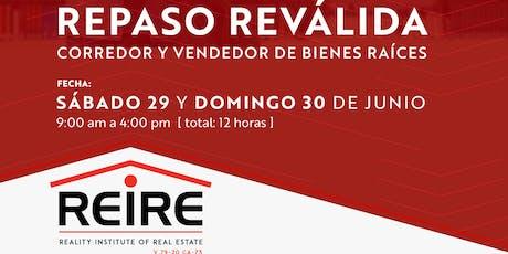REPASO Reválida JULIO 2019 - Corredor/Vendedor de Bienes Raíces tickets