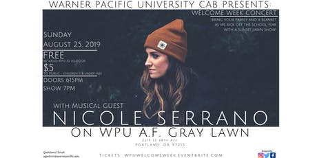WPU  Welcome Week Concert with musical guest Nicole Serrano tickets