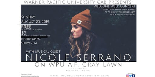 WPU  Welcome Week Concert with musical guest Nicole Serrano