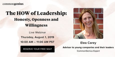 The HOW of Leadership: Honesty, Openness and Willingness tickets