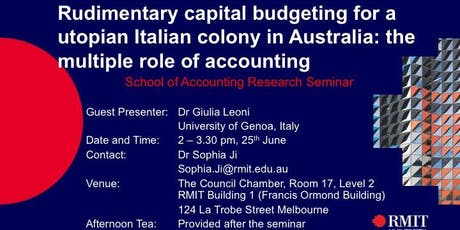 Rudimentary capital budgeting for a utopian Italian colony in Australia: tickets