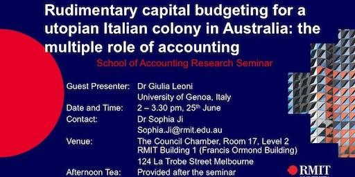 Rudimentary capital budgeting for a utopian Italian colony in Australia: