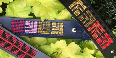 Palestinian Tatreez Embroidered Leather Cuff