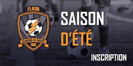 Inscription (École de soccer)(U5-U14)(Vendredi groupe de 18h00 ou 19h00) - Saison d'Été 2019 (2014-2005) (12 séances) billets