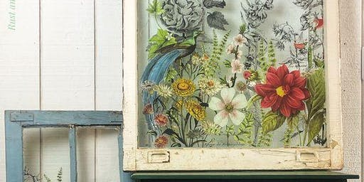 Floral Transfer on Salvaged Window