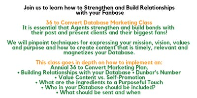 Real Estate Database Relationship Marketing Class - 36 to Convert