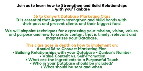 Real Estate Database Relationship Marketing Class - 36 to Convert tickets