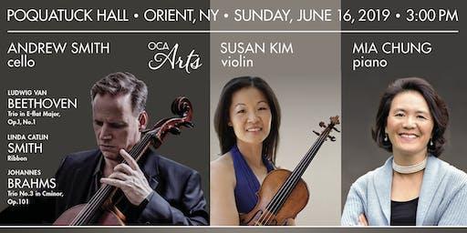 Andrew Smith, cello, with Susan Kim, violin, and Mia Chung, piano