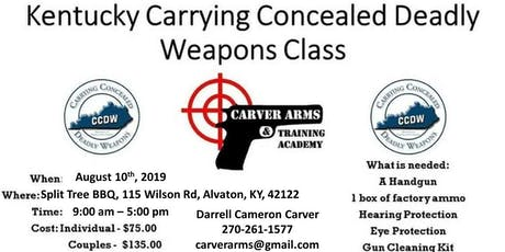 Concealed Carry of Deadly Weapons Class tickets