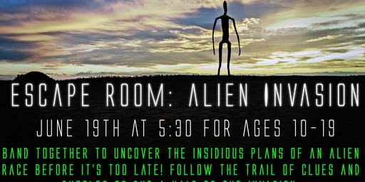 Escape Room: Alien Invasion  Session I (ages 10-19 years)