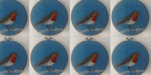 Intermediate Needle Felting - Christmas Robin Hoop