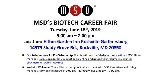 MSD's Summer Job Fair - June 18th, 2019!