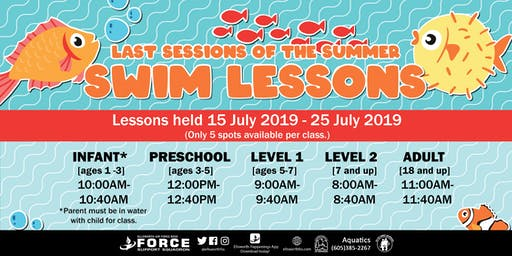 Ellsworth AFB Swim Lessons for July