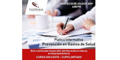 PLATICA DE PREVENCIÓN EN GASTOS DE SALUD