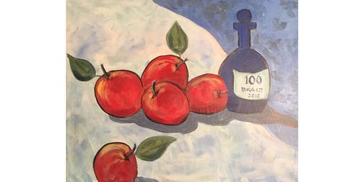 Apple Still Life after Cezanne Paint & Sip Night - Wine, Beer Included