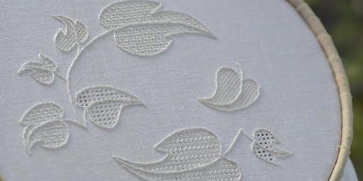 Stitching with Liz & Helen.....Pulled Thread Whitework