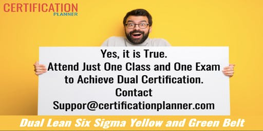 Dual Lean Six Sigma Yellow and Green Belt with CP/IASSC Exam in Greenville`