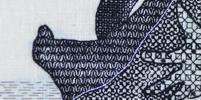 Stitching with Liz & Helen.....Blackwork Shading inspired by the Royal Albert Museum