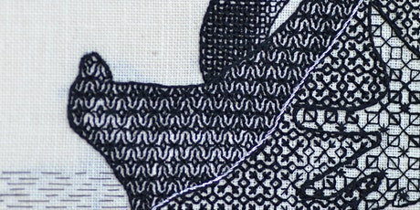 Stitching with Liz & Helen.....Blackwork Shading inspired by the Royal Albert Museum tickets