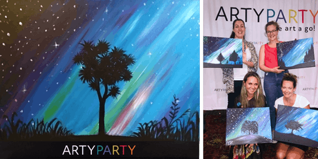 ARTYPARTY - Give Art a Go! Paint NZ Southern Lights & Cabbage Tree - 1st drink free! tickets