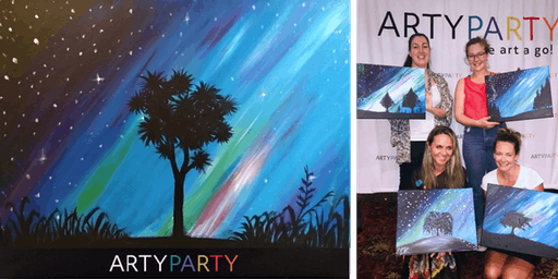ARTYPARTY - Give Art a Go! Paint NZ Southern Lights & Cabbage Tree - 1st drink free!