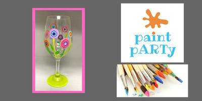 Paint'N'Sip Two Wine Glasses - Abstract Flowers - $35 pp