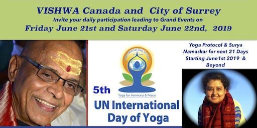 5th International Day of Yoga in Surrey BC Canada