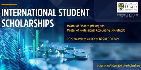 Scholarships of Finance and Accounting Master Degree at University of Otago tickets