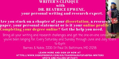 Writer's Clinique June 8th and 9th