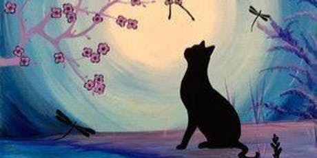 Cat silhouette with dragonflies  tickets