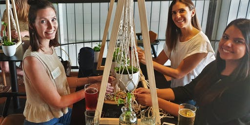 Knots'n'Hops Macramé Plant Hanger with Beer at Aether Milton