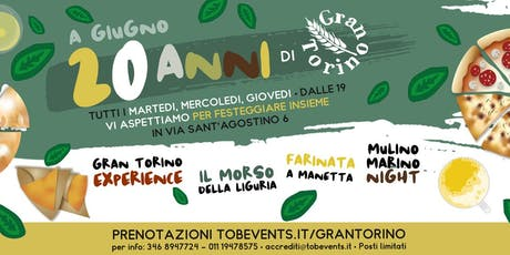 I 20 ANNI DI FOCACCERIE GRAN TORINO! biglietti