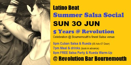 LATINO BEAT Summer Salsa Social @ Revolution Bar Bournemouth SUN 30 JUN tickets