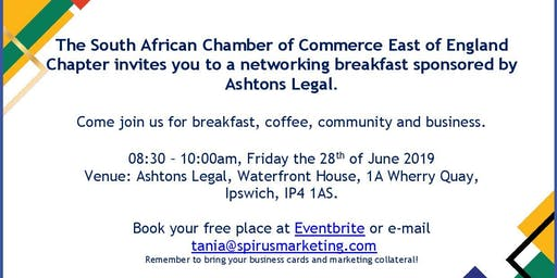 South African Chamber of Commerce - East of England Chapter networking breakfast
