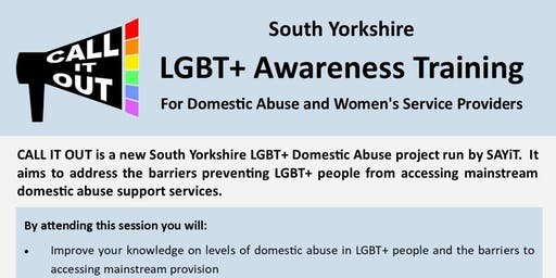 Call It Out: South Yorkshire LGBT+ Awareness Training for Domestic Abuse and Women's Service Providers [LIMITED PLACES]
