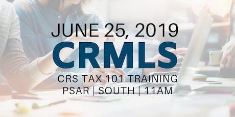 CRMLS: CRS Tax 101 Training tickets