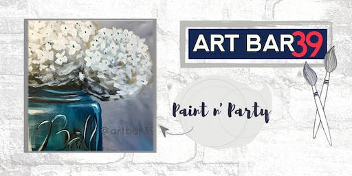 Paint & Sip | ART BAR 39 | Public Event | Teal Hydrangea