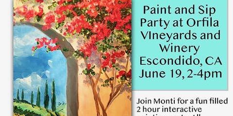 Paint and Sip party at Orfila Vineyards and Winery, Escondido, CA