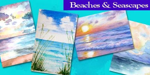 Beaches & Seascapes Beginner's DAYTIME Watercolor Class - Spencer