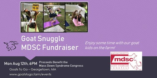 Goat Snuggle Fundraiser for Mass Down Syndrome Congress – MSDC